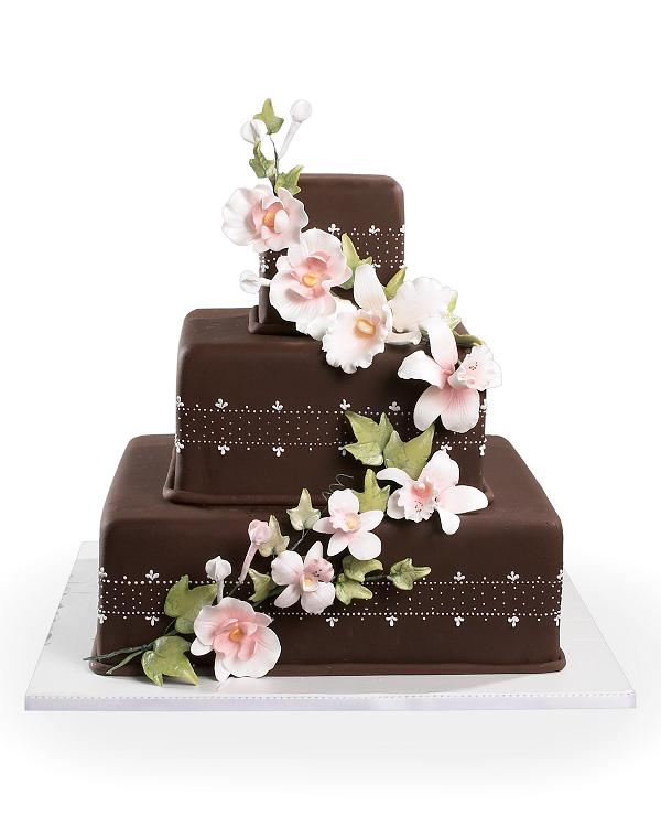 Chocolate and orchids cake